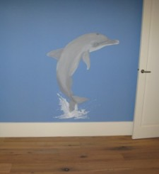 Een dolfijn op jouw slaapkamer geschilderd